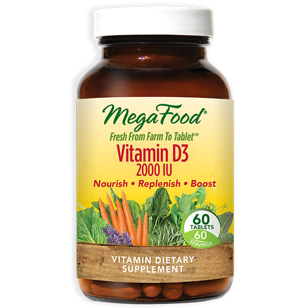 DailyFoods Vitamin D-3 2000 IU, Whole Food, 60 Tablets, MegaFood ShopFest Money Saver