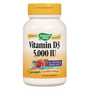 Vitamin D-3 5000 IU, 240 Softgels, Natures Way