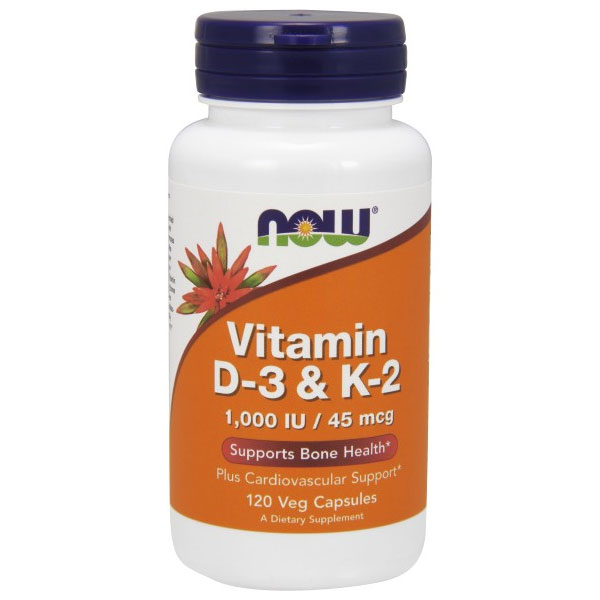 Vitamin D-3 & K-2 1000 IU/45 mcg, 120 Vcaps, NOW Foods