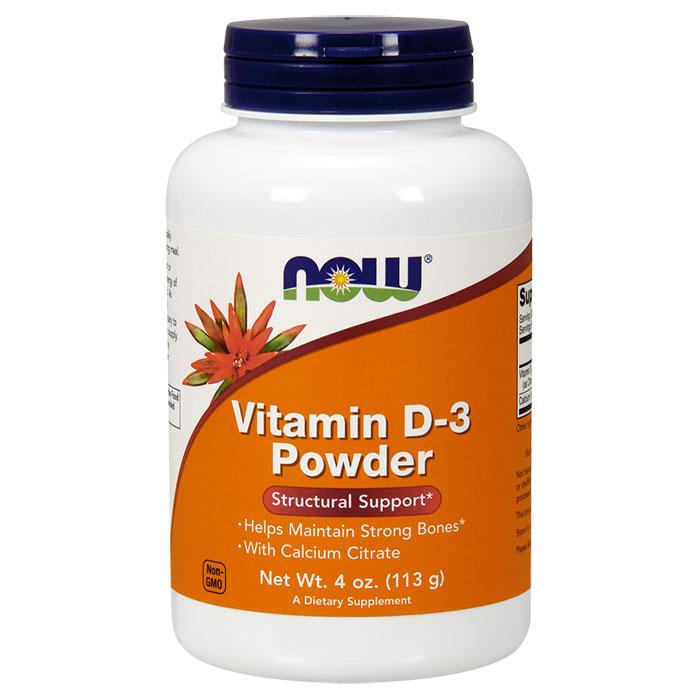 Vitamin D-3 Powder, 4 oz, NOW Foods