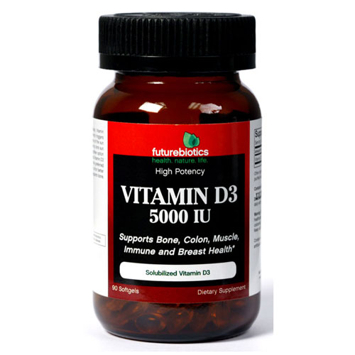 Vitamin D 5000 IU, 90 Softgels, FutureBiotics