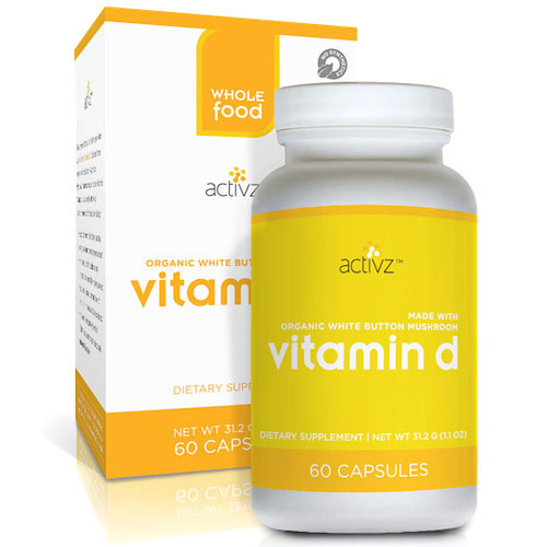 Activz Vitamin D, From Organic Whole Food Mushroom, 60 Capsules