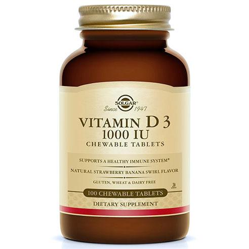 Vitamin D3 1000 IU Chewable - Natural Strawberry Banana Swirl, 100 Tablets, Solgar
