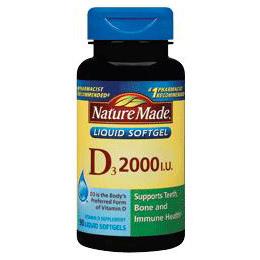 Vitamin D3 2000 IU, 250 Liquid Softgel, Nature Made