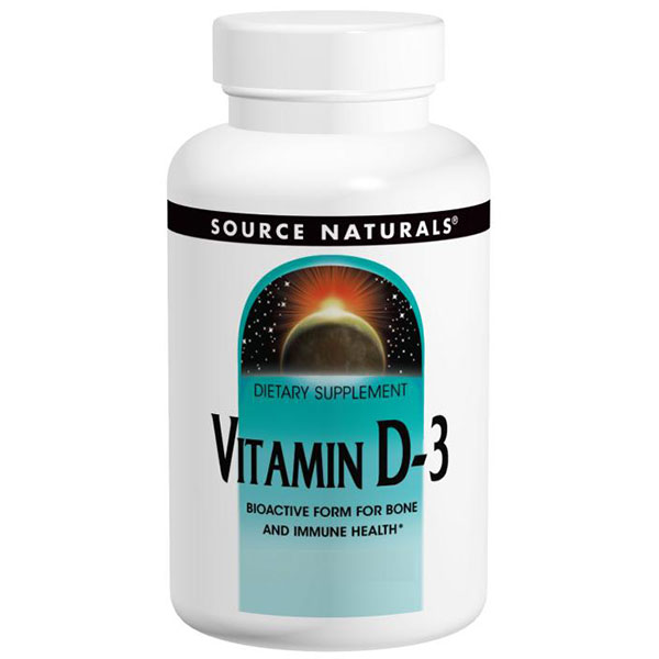 Vitamin D-3 5000 IU Caps, 240 Capsules, Source Naturals