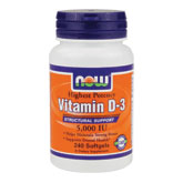 Vitamin D-3 5000 IU, 240 Softgels, NOW Foods