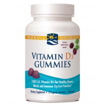 Vitamin D3 Gummies 1000 IU - Wild Berry, 60 Gummies, Nordic Naturals