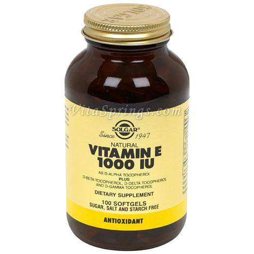 Vitamin E 1000 IU Mixed (1000 IU d-Alpha Tocopherols & Mixed Tocopherols), 100 Softgels, Solgar