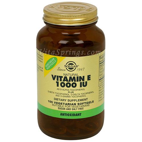 Vitamin E 1000 IU Vegetarian (1000 IU d-Alpha Tocopherols & Mixed Tocopherols), 100 Softgels, Solgar