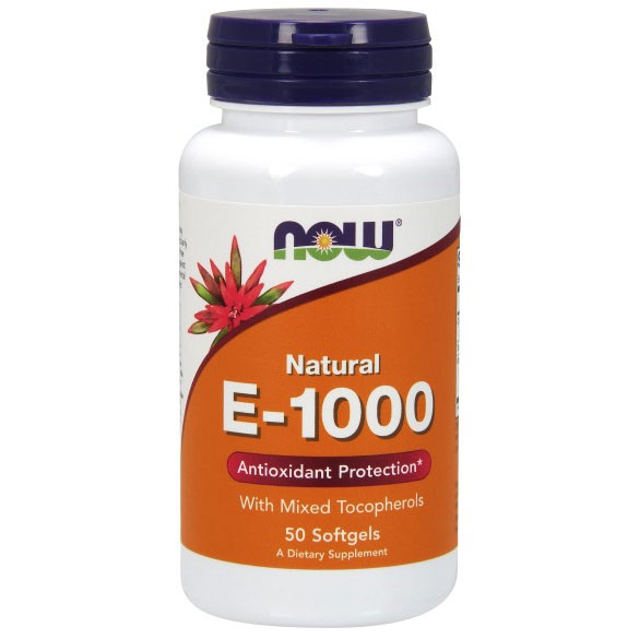 Vitamin E-1000 Mixed Tocopherols/Unesterified 50 Gels, NOW Foods