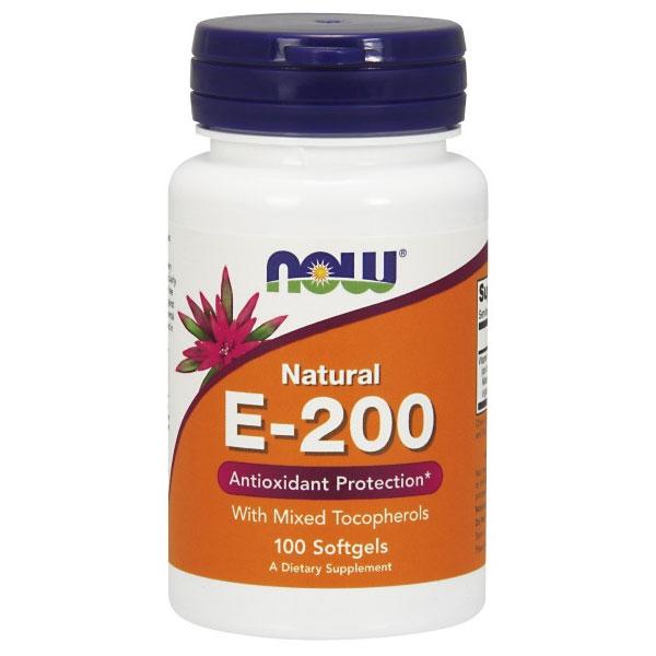 Vitamin E-200 IU Mixed Tocopherols/Unesterified 100 Gels, NOW Foods