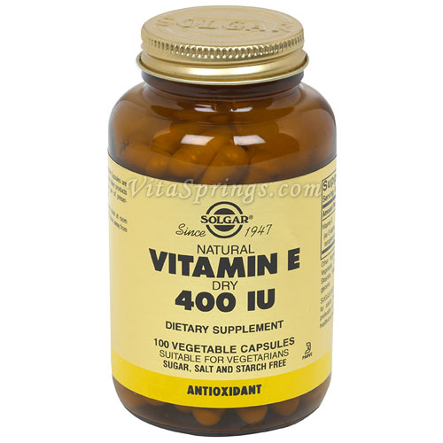 Vitamin E 400 IU Dry (d-Alpha Tocopheryl Succinate), 100 Vegetable Capsules, Solgar