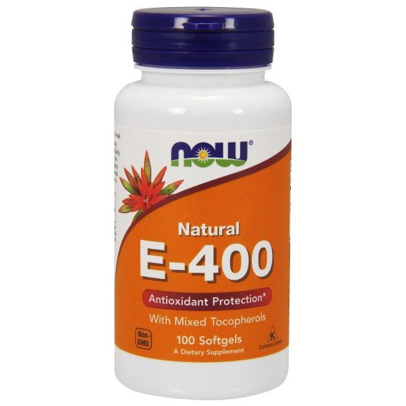 Vitamin E-400 Mixed Tochopherols/Unesterified 100 Softgels, NOW Foods