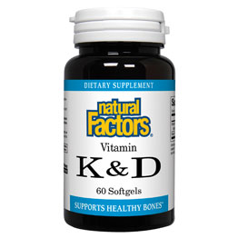 Vitamin K & D, MK7 120mcg/D3 1000IU, 60 Softgels, Natural Factors