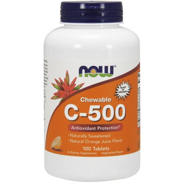 Vitamin C-500 Chewable Orange, 100 Lozenges, NOW Foods