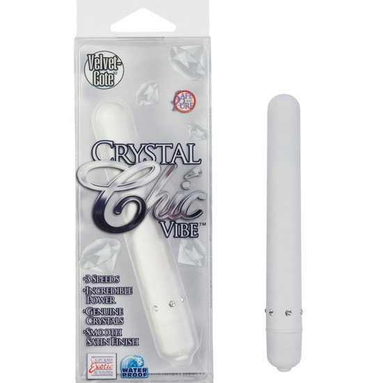 Crystal Chic Vibe - White, Silky Smooth Waterproof Vibrator, California Exotic Novelties