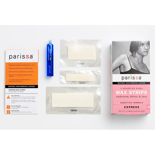 Wax Strips, 3 Assorted Sizes, 24 Strips, Parissa Natural Hair Removal