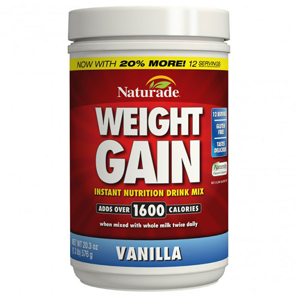 Weight Gain Sugar-Free, All-Natural Gainer, Vanilla, 20.3 oz, Naturade