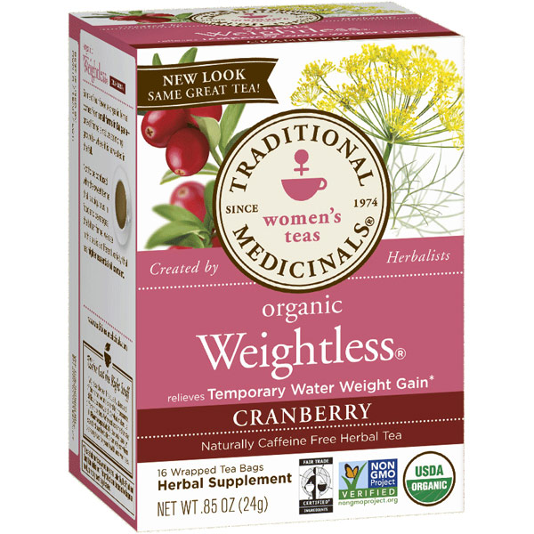 Weightless Tea Cranberry 16 bags, Traditional Medicinals Teas