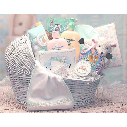 Welcome Baby Bassinet New Baby Gift Basket, Elegant Gift Baskets Online