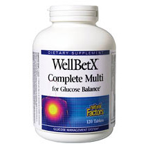 WellBetX Complete Multi for Glucose Balance 120 Tablets, Natural Factors