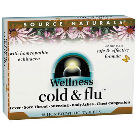 Wellness Cold and Flu Homeopathic 48 tabs from Source Naturals