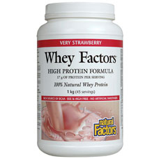Whey Factors - Strawberry, 100% Natural Whey Protein, 2 lb, Natural Factors