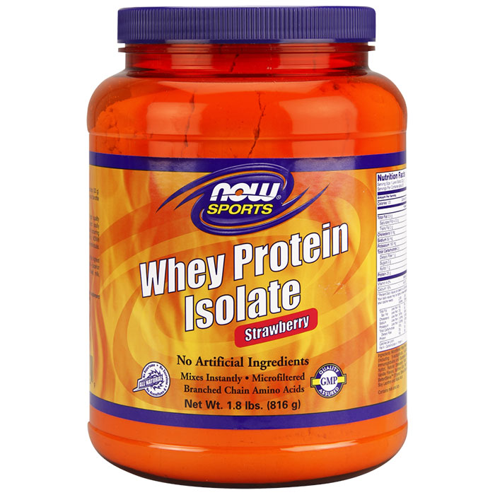 Whey Protein Isolate Strawberry, 1.8 lb, NOW Foods