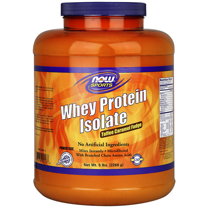 Whey Protein Isolate - Toffee Caramel Fudge, 5 lb, NOW Foods