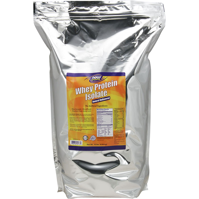 Whey Protein Isolate Unflavored Mega Pack, 10 lb, NOW Foods