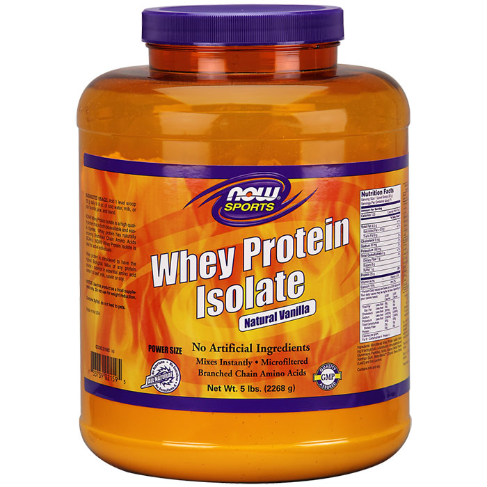 Whey Protein Isolate Vanilla 5 lb, NOW Foods