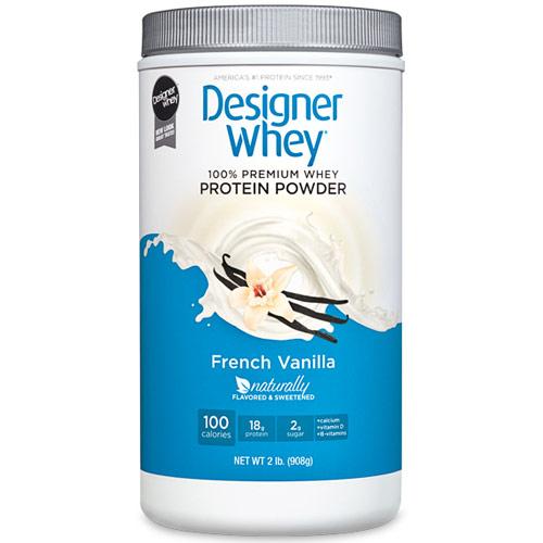 100% Premium Whey Protein Powder, French Vanilla, 2 lb, Designer Whey