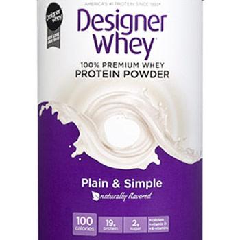 100% Premium Whey Protein Powder, Natural (Plain & Simple), 12 oz, Designer Whey