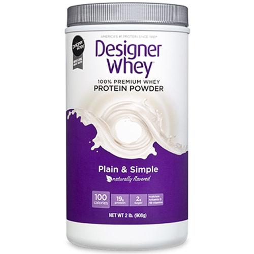 100% Premium Whey Protein Powder, Natural (Plain & Simple), 2 lb, Designer Whey