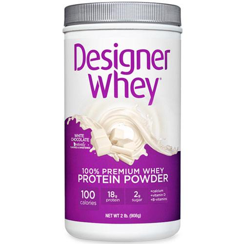100% Premium Whey Protein Powder, White Chocolate, 2 lb, Designer Whey