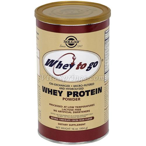 Whey To Go Protein Powder - Natural Chocolate Cocoa Bean Flavor, 16 oz, Solgar