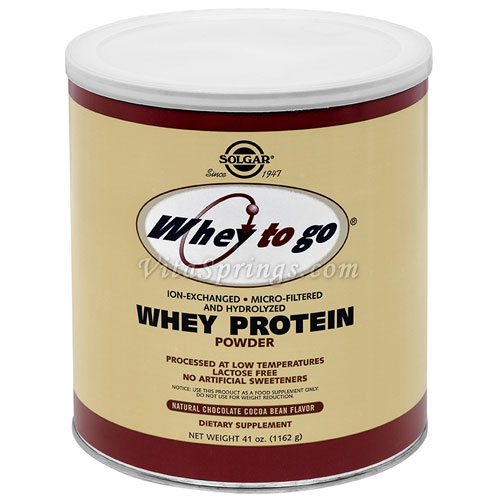 Whey To Go Protein Powder - Natural Chocolate Cocoa Bean Flavor, 41 oz, Solgar
