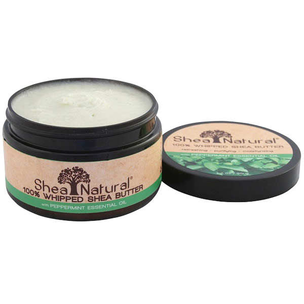 100% Whipped Shea Butter with Peppermint Essential Oil, 3.2 oz, Shea Natural