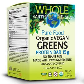 Whole Earth & Sea Organic Vegan Greens Protein Bar, 6 Bars/Box, Natural Factors