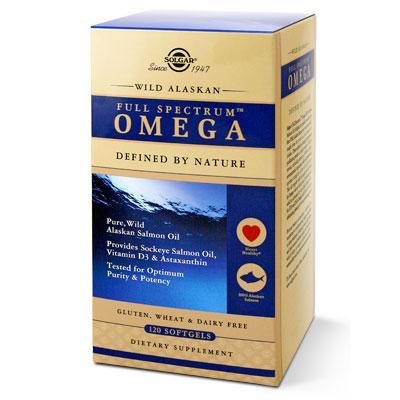 Wild Alaskan Full Spectrum Omega, Pure Salmon Oil, 120 Softgels, Solgar