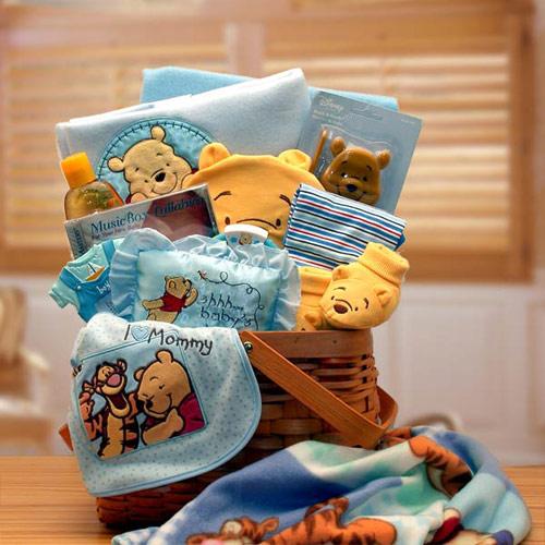 Winnie The Pooh New Baby Gift Basket, Blue, Elegant Gift Baskets Online
