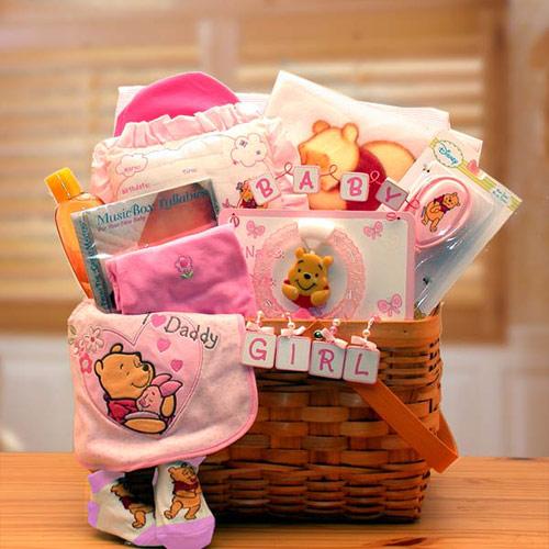 Winnie The Pooh New Baby Gift Basket, Pink, Elegant Gift Baskets Online