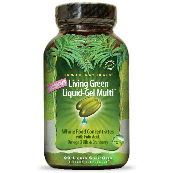 Womens Living Green Liquid-Gel Multi, 120 Liquid Soft-Gels, Irwin Naturals