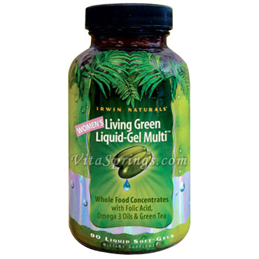 Womens Living Green Liquid-Gel Multi, 90 Liquid Soft-Gels, Irwin Naturals