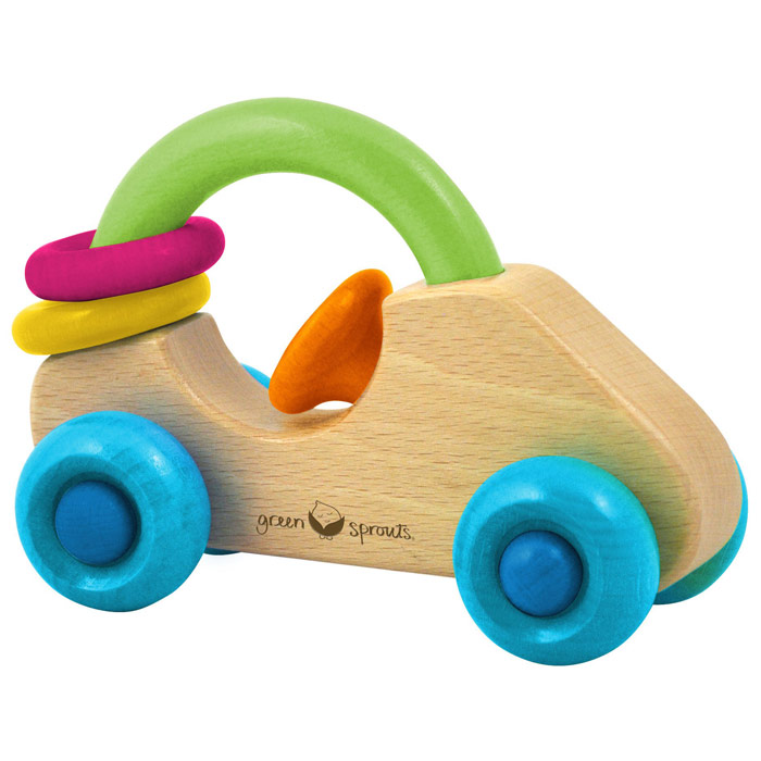 Wooden Car Rattle, 1 Unit, Green Sprouts Baby Products