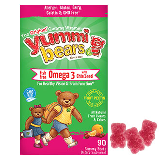 Yummi Bears Fish Free Omega 3 with Chia Seed, For Children, Fruit Flavors, 90 Gummy Bears