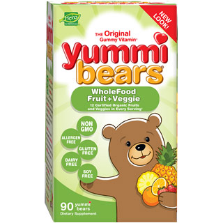 Yummi Bears Wholefood Fruit + Veggie, Value Size, 200 Gummy Bears, Hero Nutritionals
