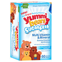 Yummi Bears Sugar-Free Multi-Vitamin & Mineral, Fruit Flavors, 60 Gummy Bears