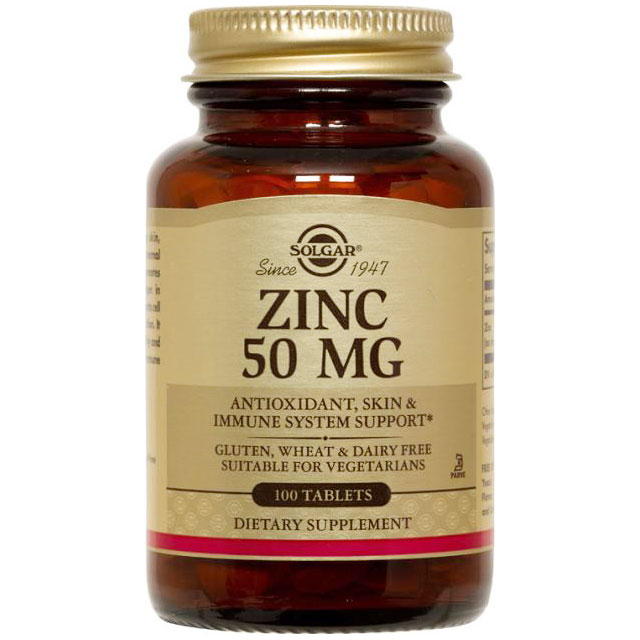 Zinc 50, 100 Tablets, Solgar - CLICK HERE TO LEARN MORE