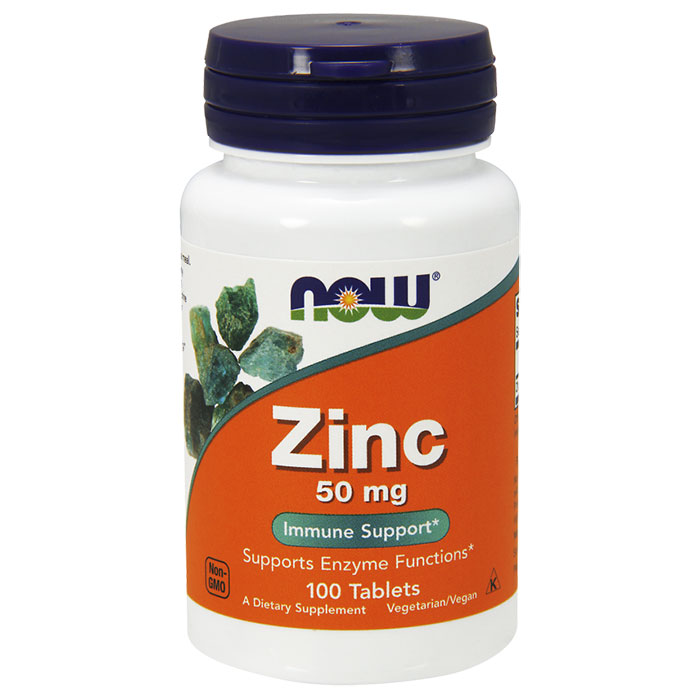 Zinc 50mg 100 Tabs, NOW Foods  (Vitamins Supplements - Zinc)